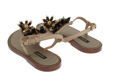 Beige Leather Crystal Floral Sandal
