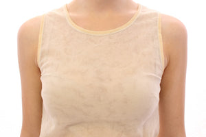 Beige Sleeveless Cotton Top Tank Blouse