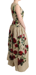 Beige Roses Silk Gown Maxi Shift Dress