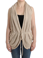 Beige sleeveless knitted cardigan