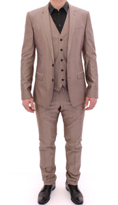 Beige Three Piece Cotton Silk MARTINI Suit