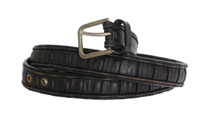 Black Brown Leather Silver Buckle Belt