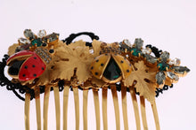 Gold Crystal Ladybug Floral Hair Comb
