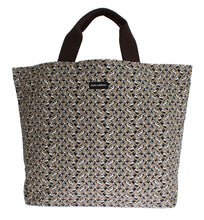 Beige Car Print Cotton Denim Hand Shopping Bag
