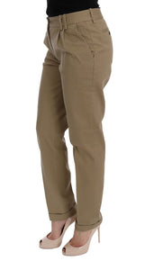 Beige Solid Pattern Casual Pants