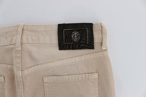 Beige Wash Slim Fit Cotton Stretch Jeans