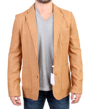 Beige Wool Blend Two Button Blazer
