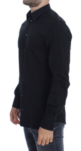 Black cotton stretch slim fit casual shirt