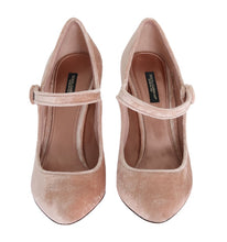 Beige Velvet Mary Janes Leather Shoes