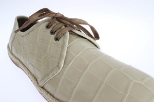 Beige Crocodile Skin Laceups Dress Shoes