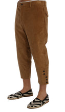 Beige Cotton Corduroy Capri Pants