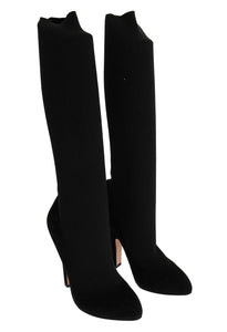 Black Cotton Cutout Socks Suede Boots