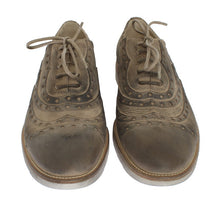 Beige Leather Wingtip Shoe