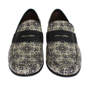 Beige Blue Leather Loafers Shoes