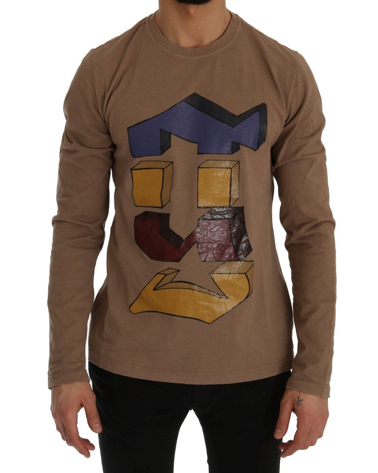 Beige Motive Brand Long Sleeve T-Shirt