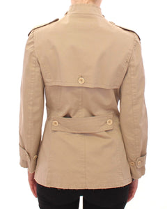 Beige Cotton Short Trench Coat Jacket Top