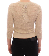 Beige Knitted Deep Crewneck 3/4 Sleeve Sweater