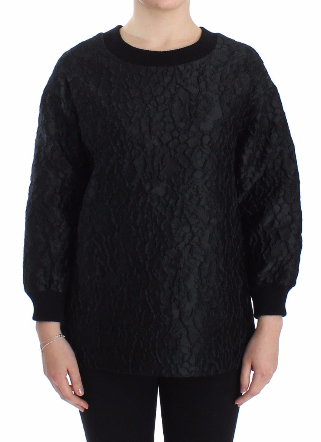 Black Brocade Crewneck Sweater Pullover