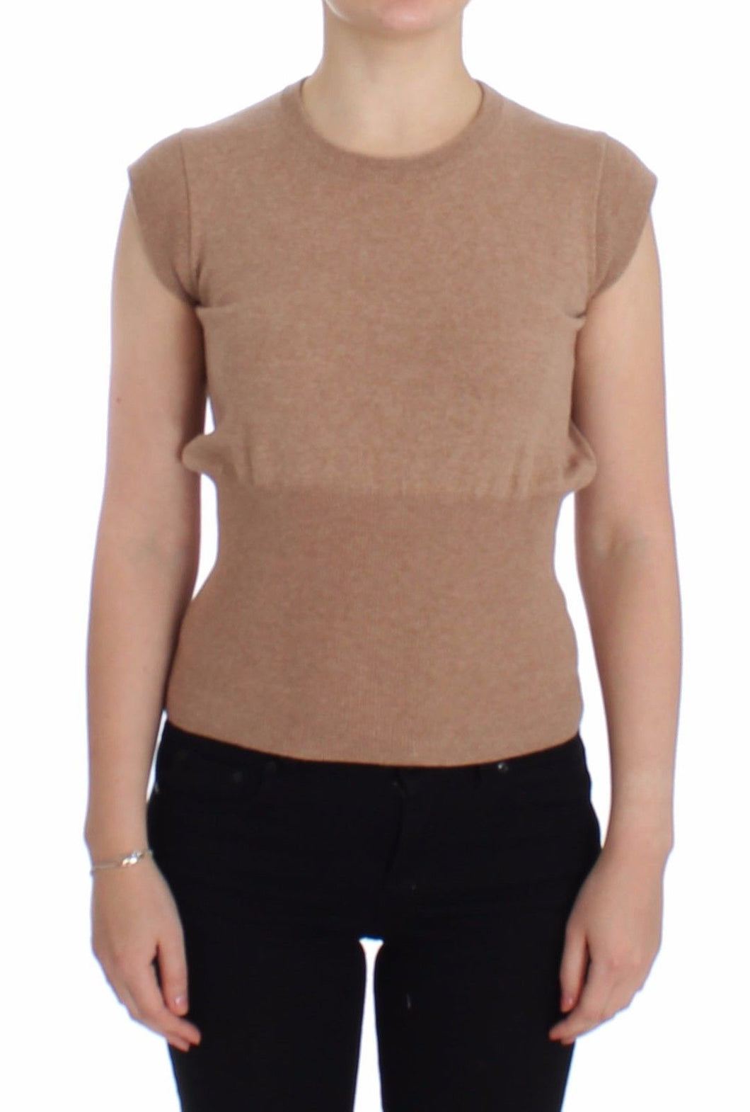 Beige Cashmere Knit Top Crewneck Sweater Vest