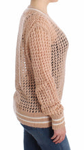 Beige Crochet Cardigan Mohair Sweater Knit