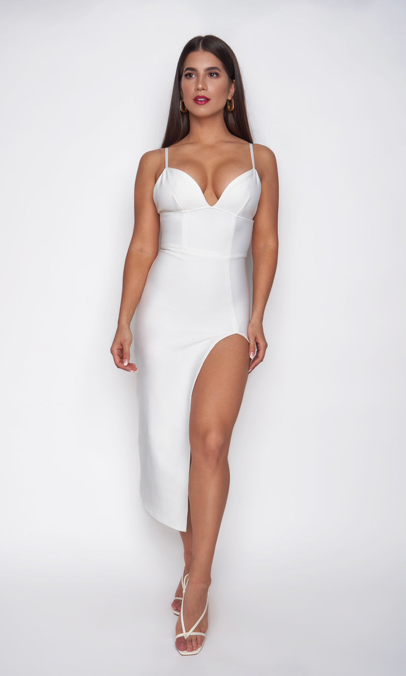 <br>SOPHIA DRESS<h6> Bandage High Slit Midi Dress</h6>