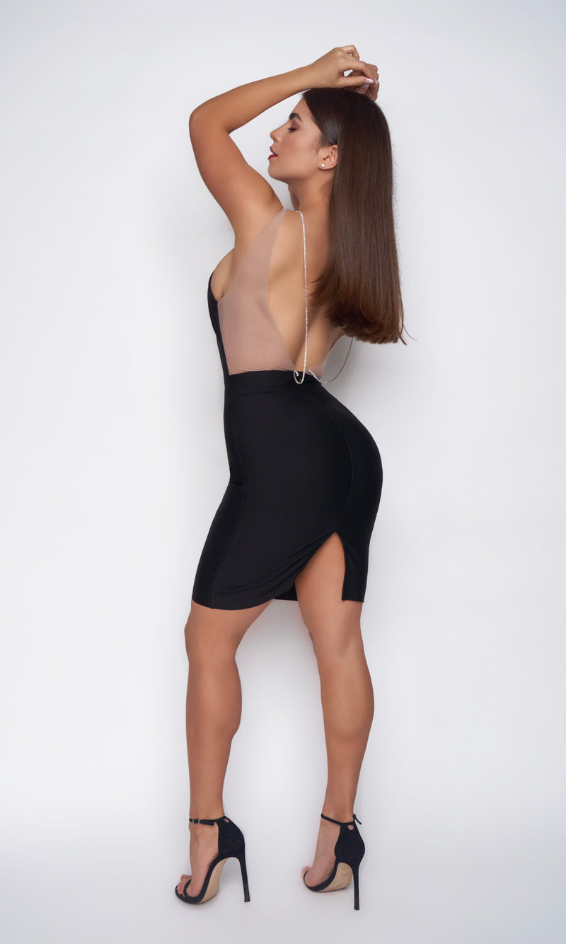 <br> STELLA DRESS<h6> Black Bandage Plunging Diamond Straps Mini Dress</h6>
