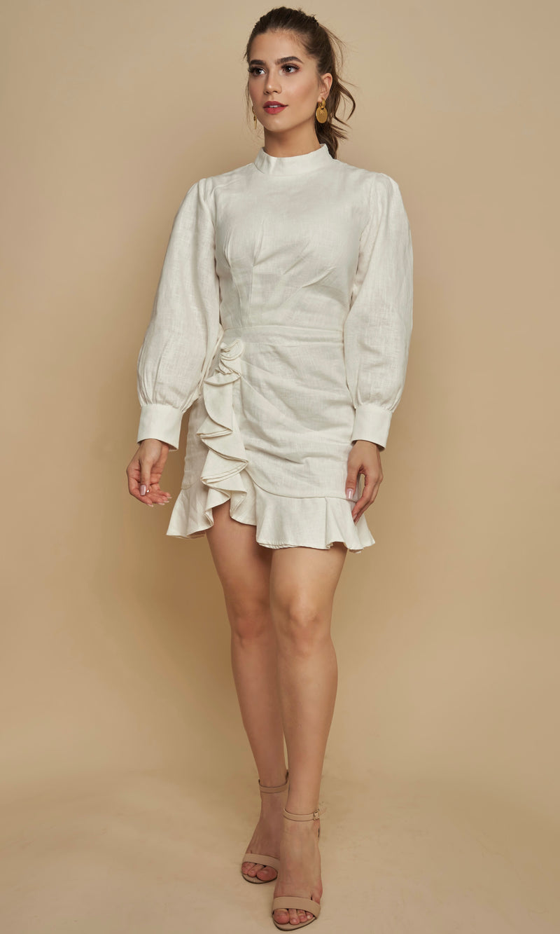 <br>KORA<h6>High-Neck Ruched Linen Dress</h6>