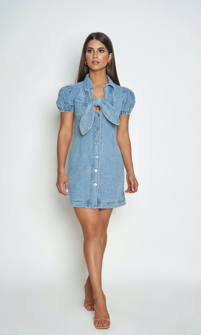 <br> LOLA DRESS<h6> Puff Sleeve Denim Button Mini Dress </h6>