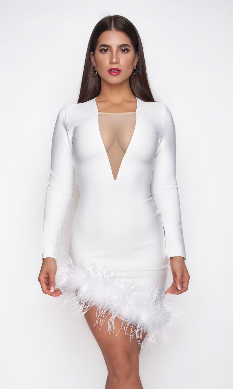 <br>SIERRA DRESS<h6> Bandage Low Cut Feather Mini Dress</h6>