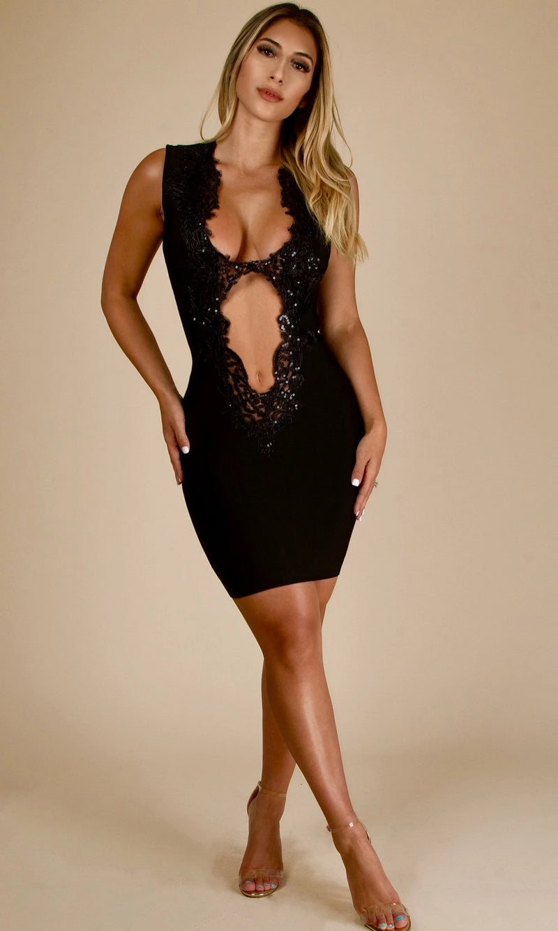 GATSBY<br><h6> Black Bandage V Neck Sheer Mini Dress </h6>