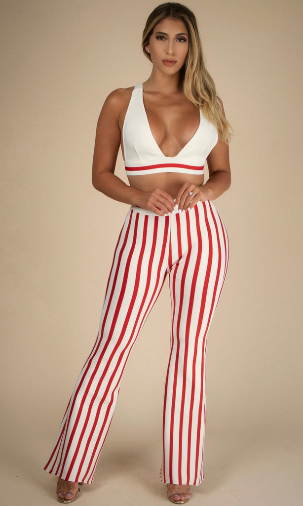 SELENE SET<br><h6>Bralettes Bar White/Red Stripe Flare Trousers</h6>