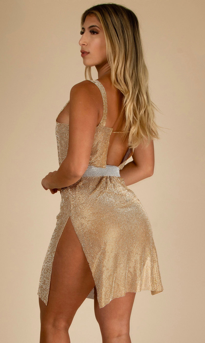 MARILYN<br><h6> Gold Rhinestone Crystals Slit Mini Dress</h6>