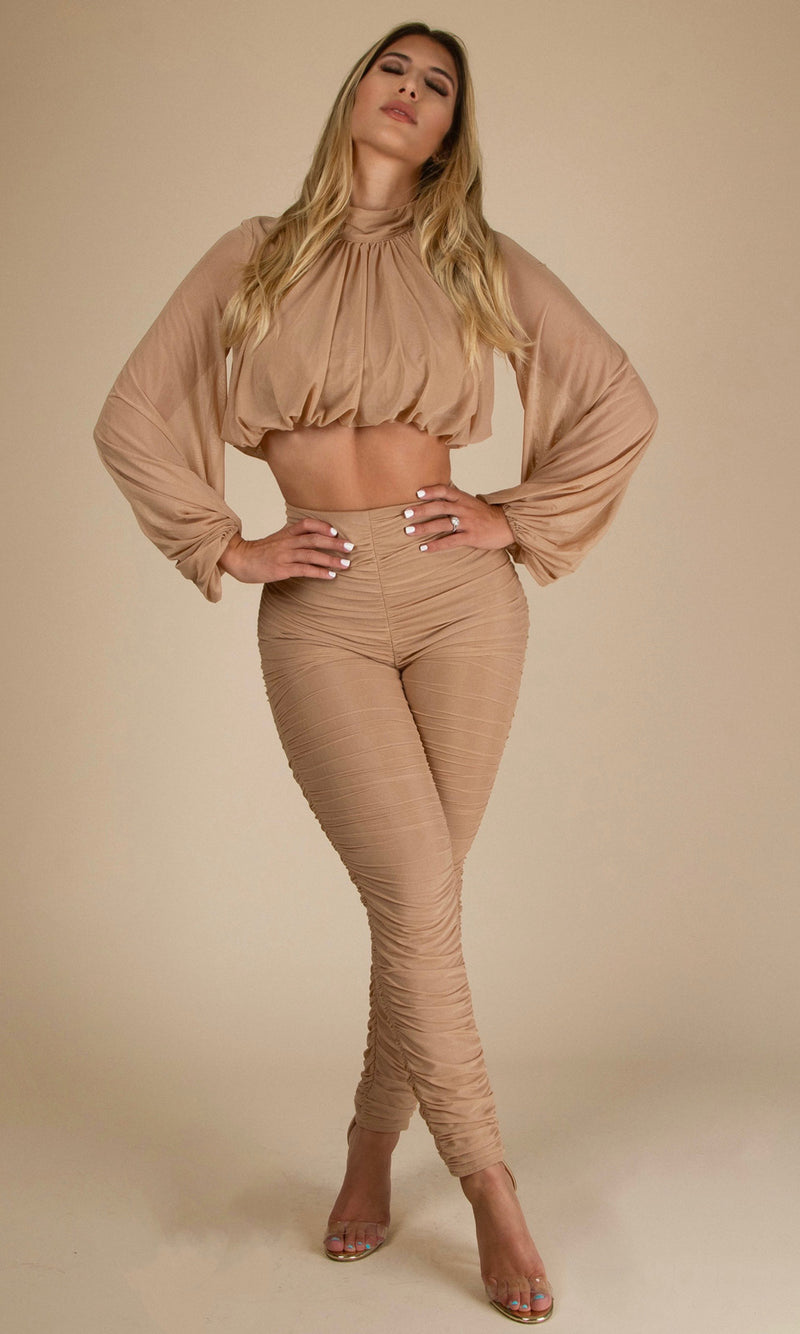 NAOMI RUCHED <br><h6> Nude Puffed Sleeve Blouse High Waist Trousers<h6>