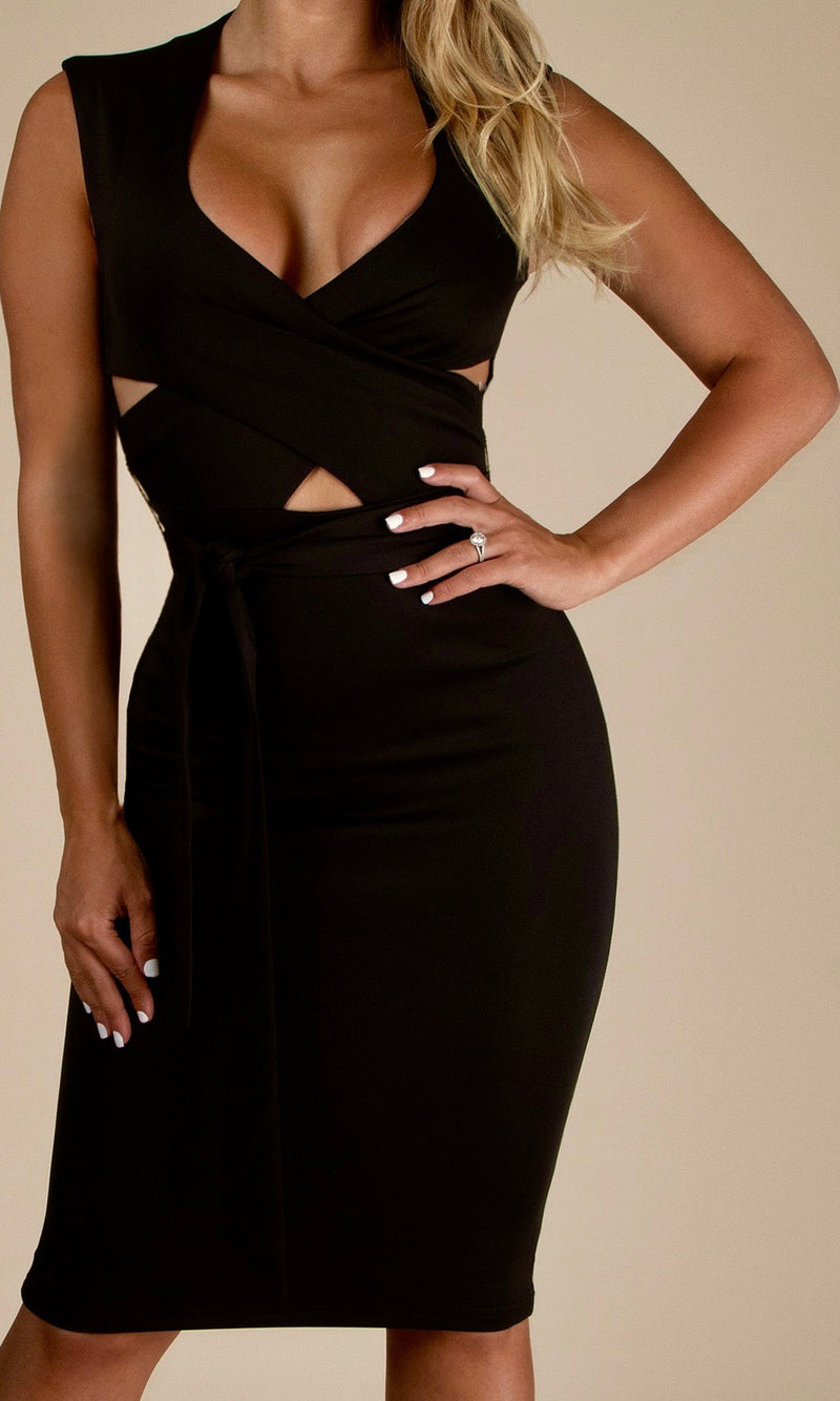 SIRENA<br><h6>Black Criss Cross Silhouette Bodycon Mini Dress</h6>