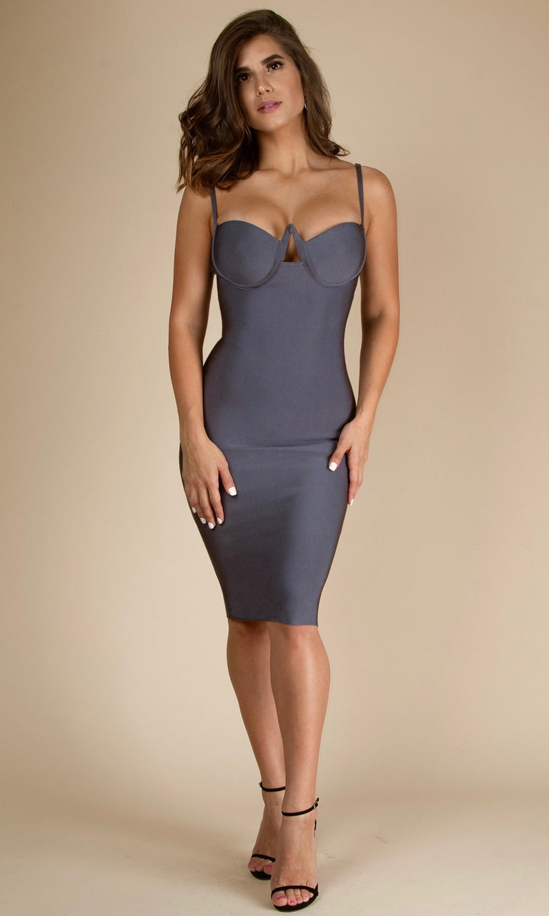 PENELOPE<br><h6> Gray Bustier Bandage Midi Dress</h6>