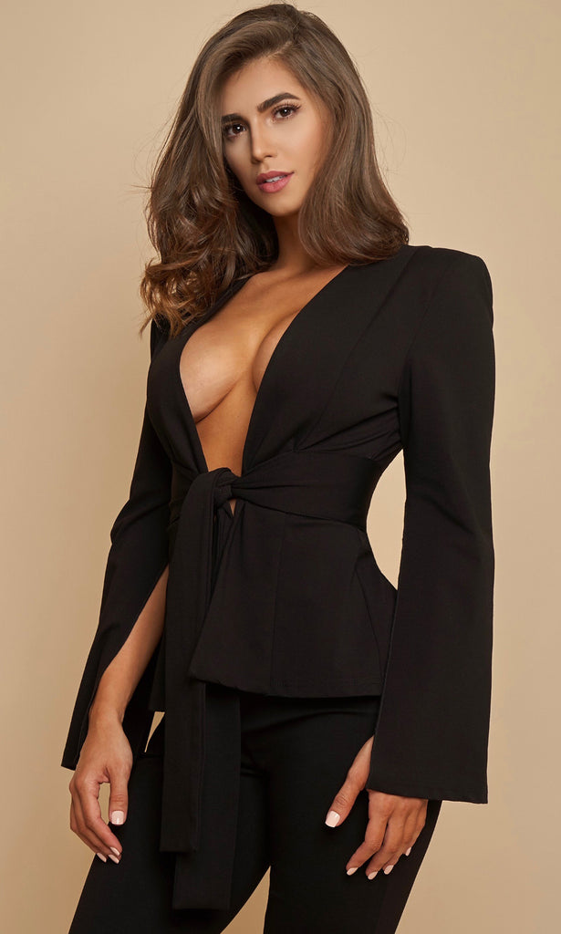 CRISTI STONE- Edition<br><h6> Black Deep V Neck Suit</h6>
