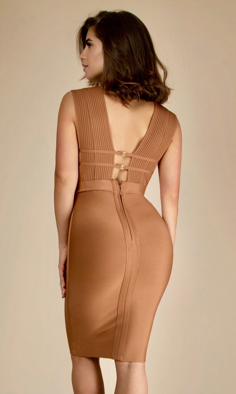 LORI<br><h6>Tan Bandage V Neck Sleeveless Mini Dress</h6>