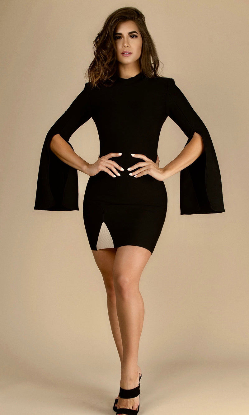 ANGELICA CRUZ- Edition<br><h6>Black Bandage Split Sleeve Mini Dress</h6>