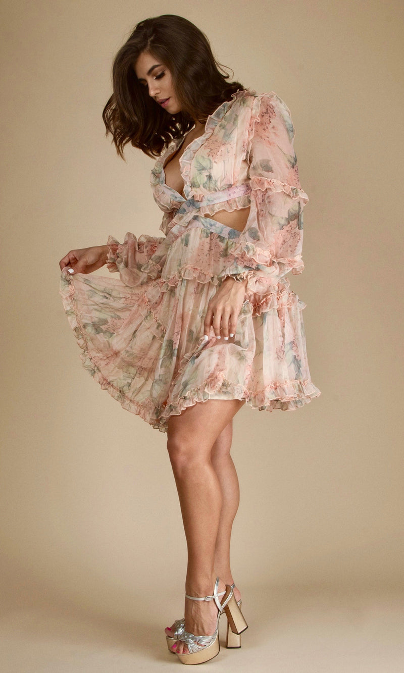 ALEXANDRA- Edition<br><h6>Flower Blossom Lace Up Mini Dress</h6>