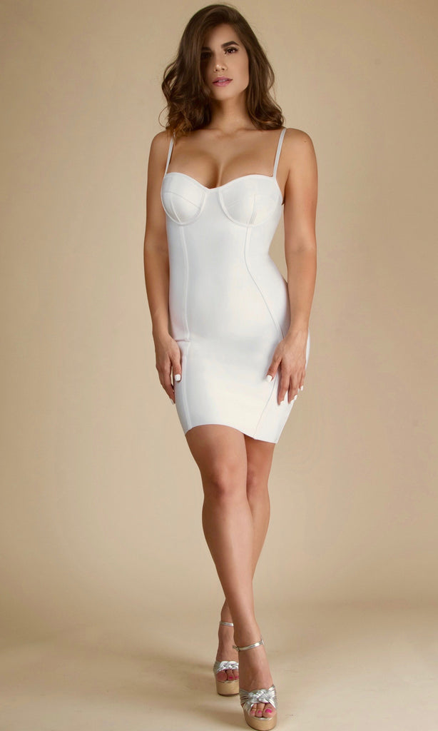 ISIS<br><h6>White Minimal Bustier Bandage Mini Dress</h6>