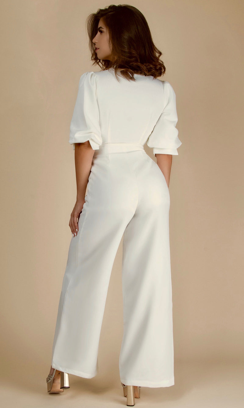 ALEXIA INGUANZO - Edition<br><h6>White Deep V High Wasisted Jumpsuit</h6>