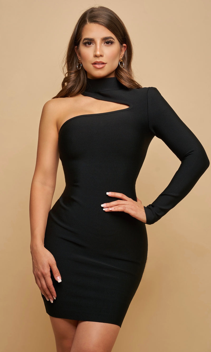 CORDELIA<br><h6> Black Bandage One Shoulder Mini Dress  </h6>