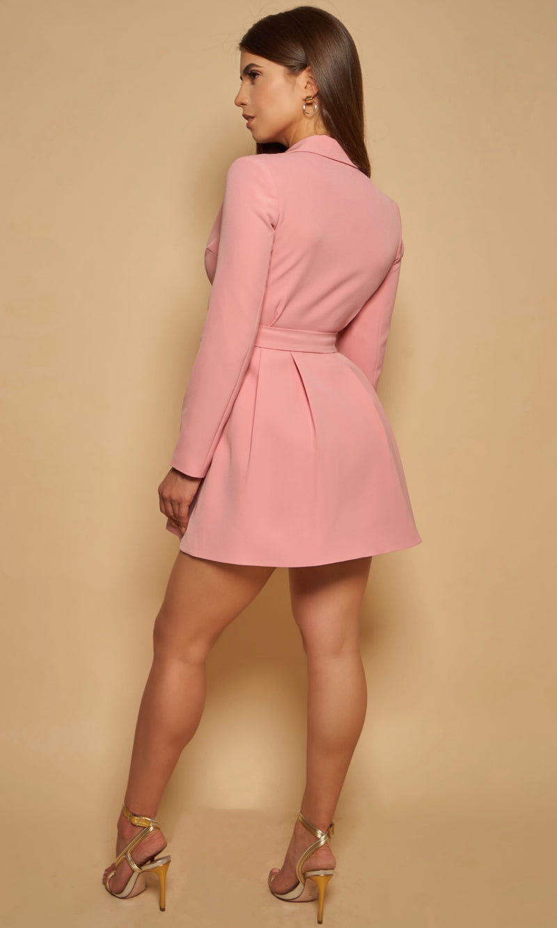 JOSEPHINE<br><h6> Belted Carnation Pink Blazer Mini Dress  </h6>