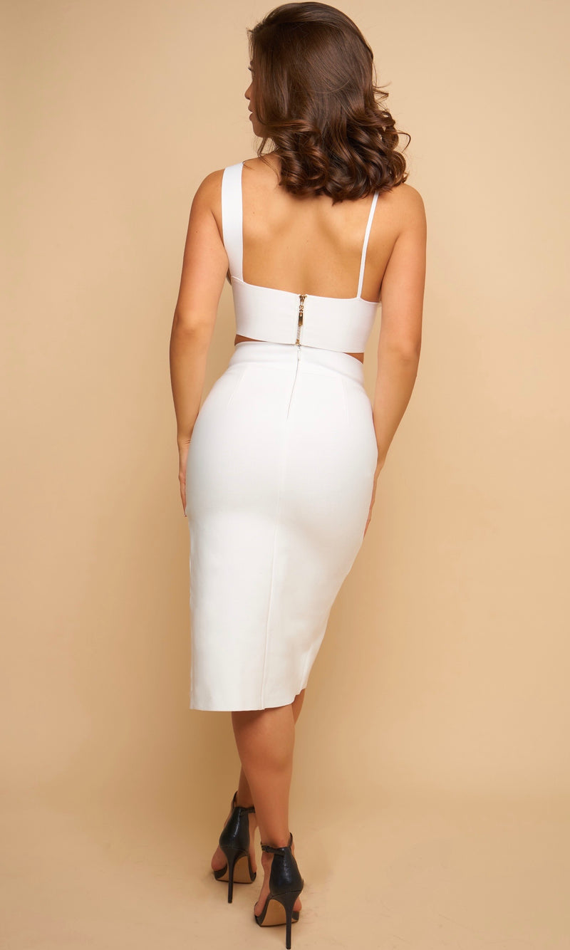 SIVAN<br><h6> White Bandage Two Piece Skirt Set </h6>