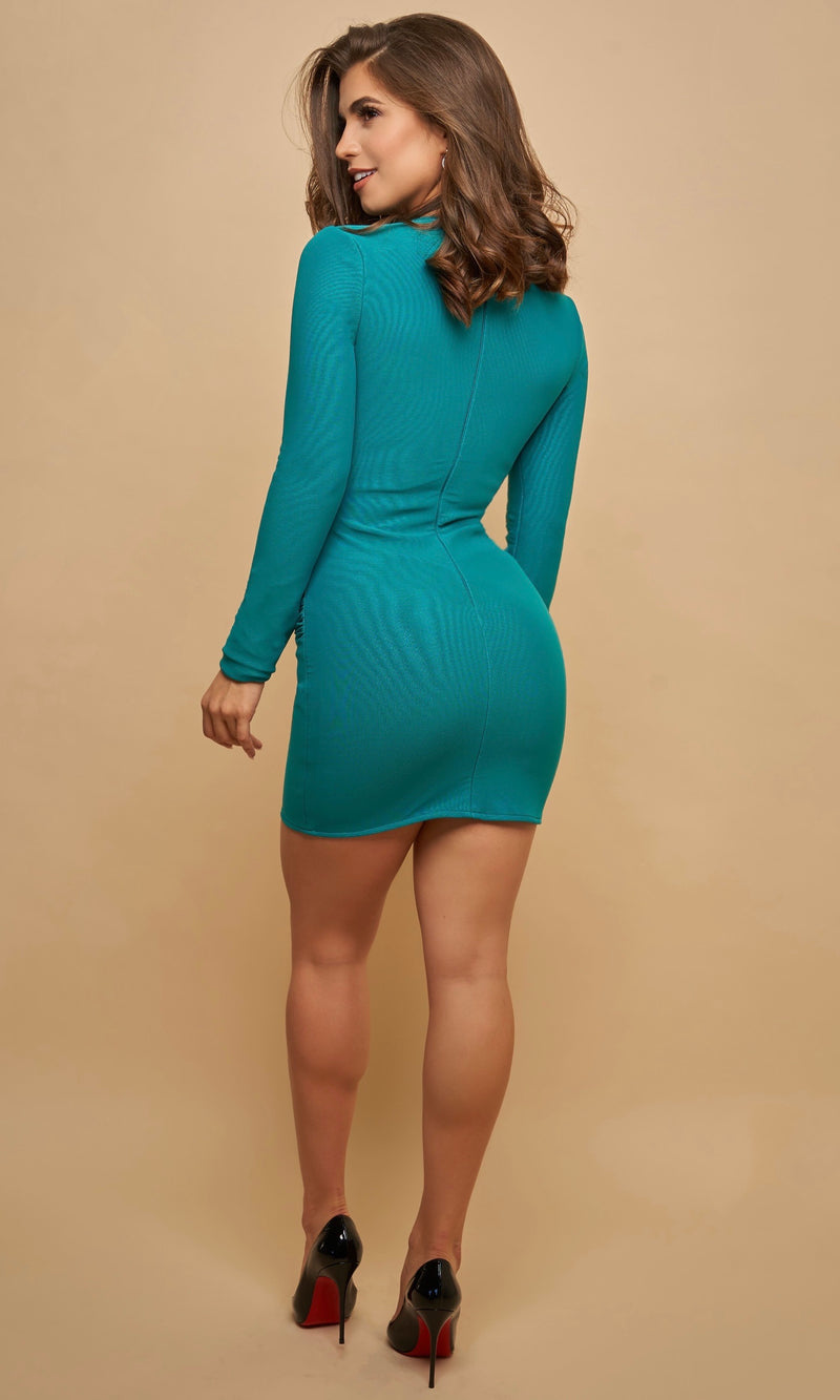 PRETTI <br><h6> Emerald Bandage Long Sleeve Mini Dress </h6>