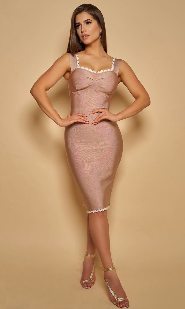 CLAIRE <br><h6> Nude Bandage Midi Dress with White Scalloped Trim </h6>