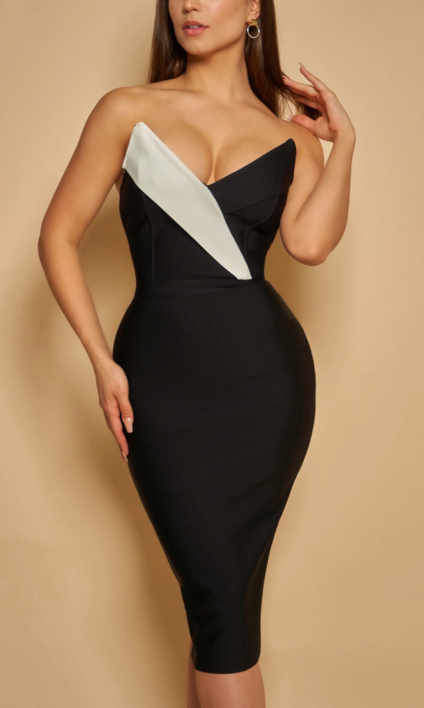 FIORELLA <br><h6> Bandage Midi Dress with Asymmetrical Black and White Sculpted Bodice </h6>