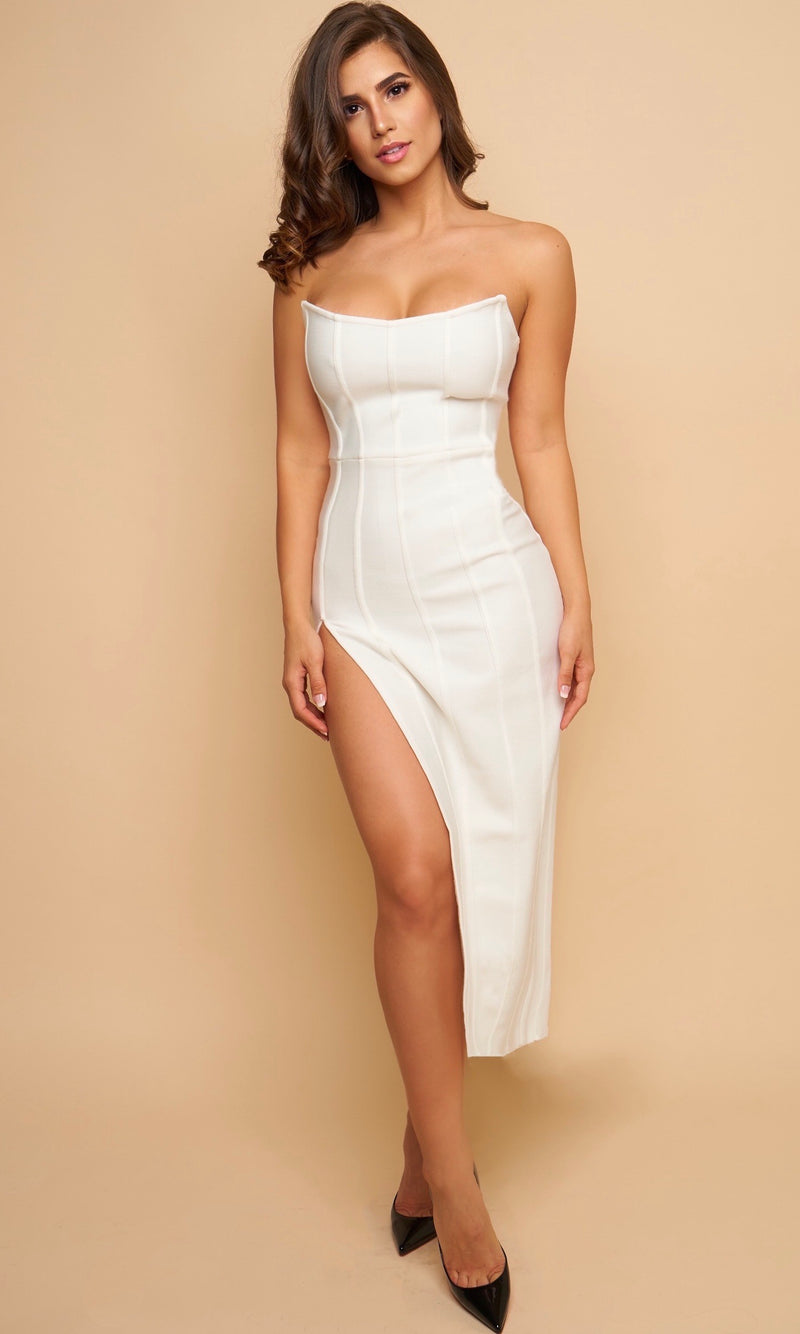 CASTILE<br><h6>White Strapless Side Slit Midi Dress</h6>