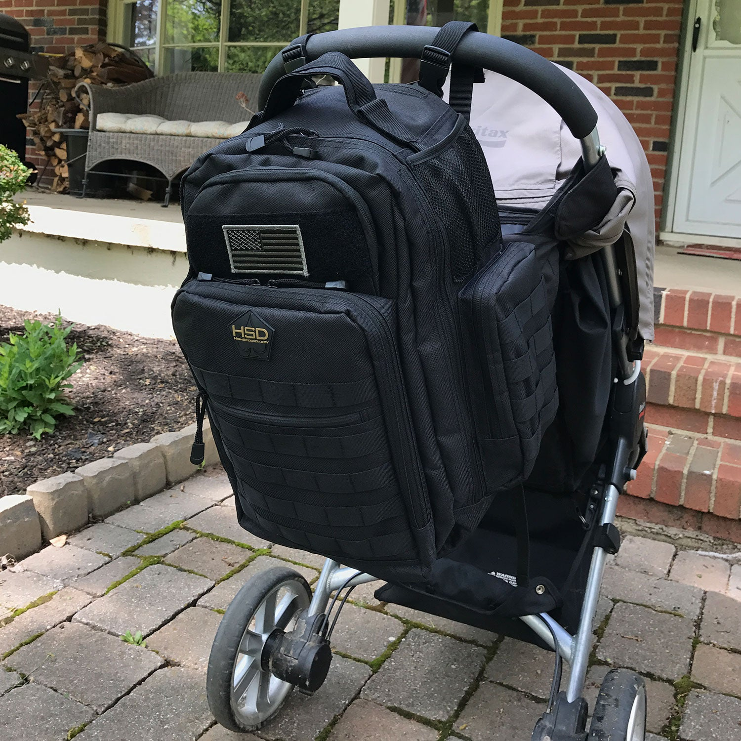 Diaper Bag Backpack on back of a stroller