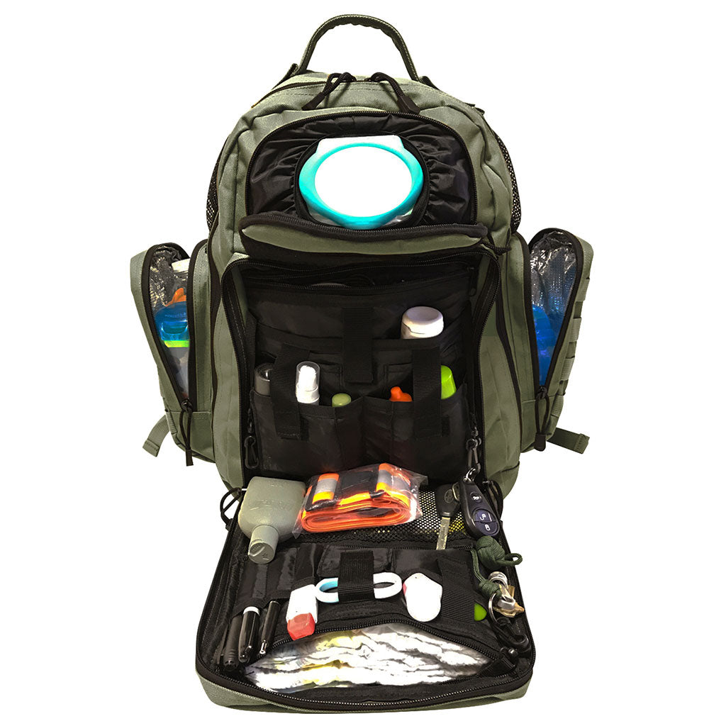 Diaper Bag Backpack open to show all that it can carry